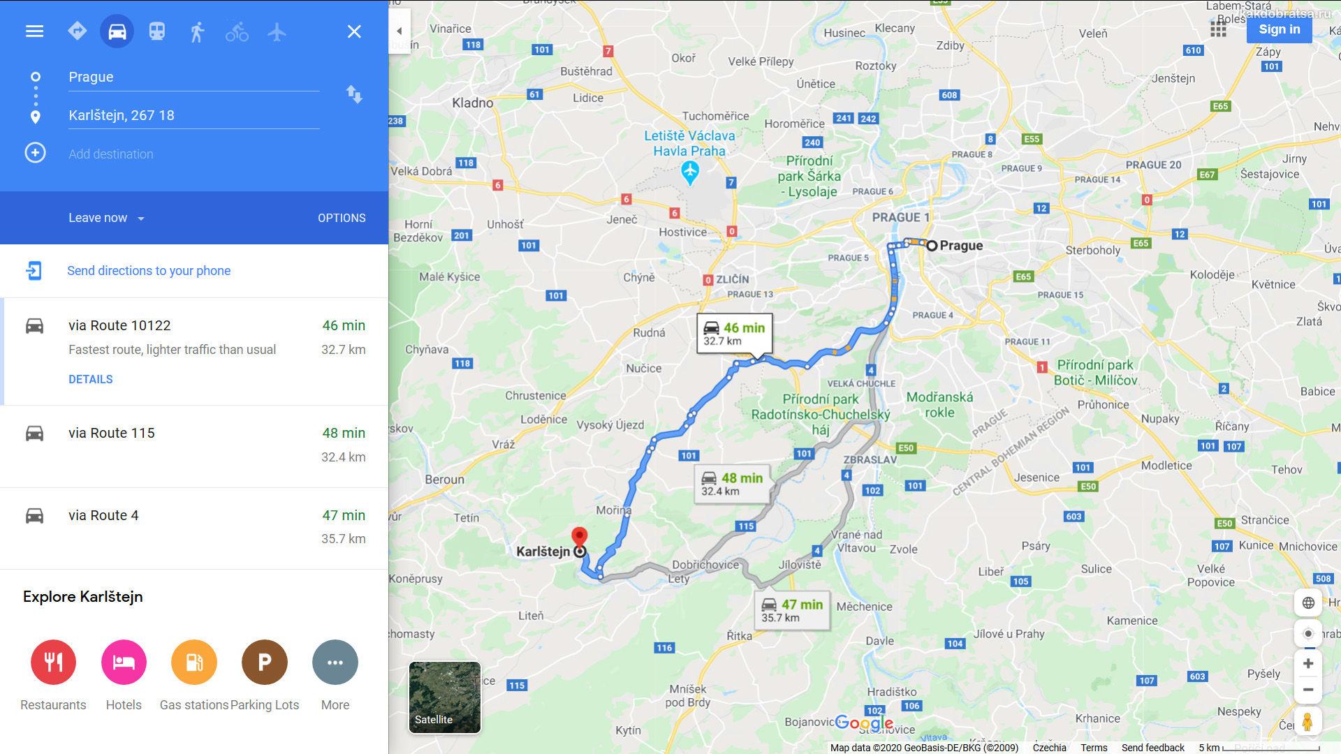 Из Праги в Карлштейн расстояние и где находится