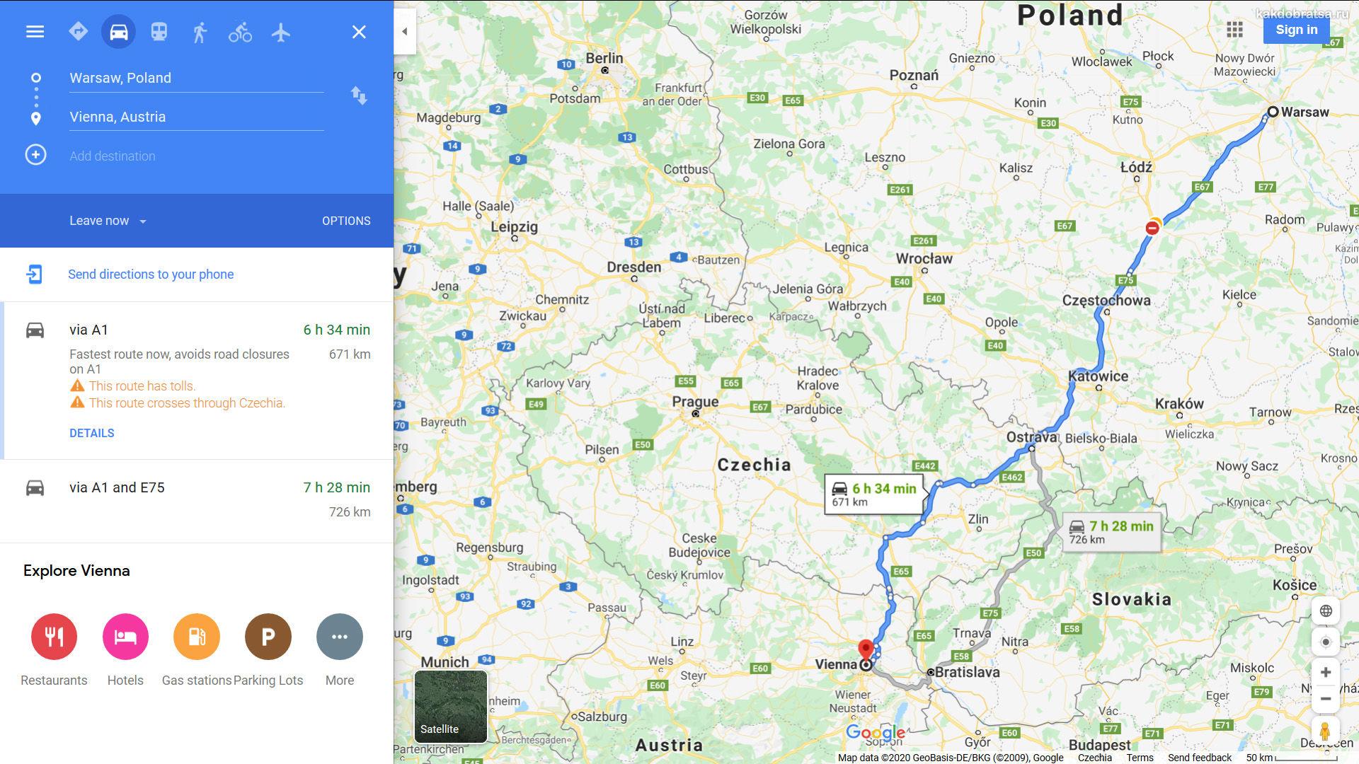 Из Варшавы в Вену расстояние и время в пути на карте