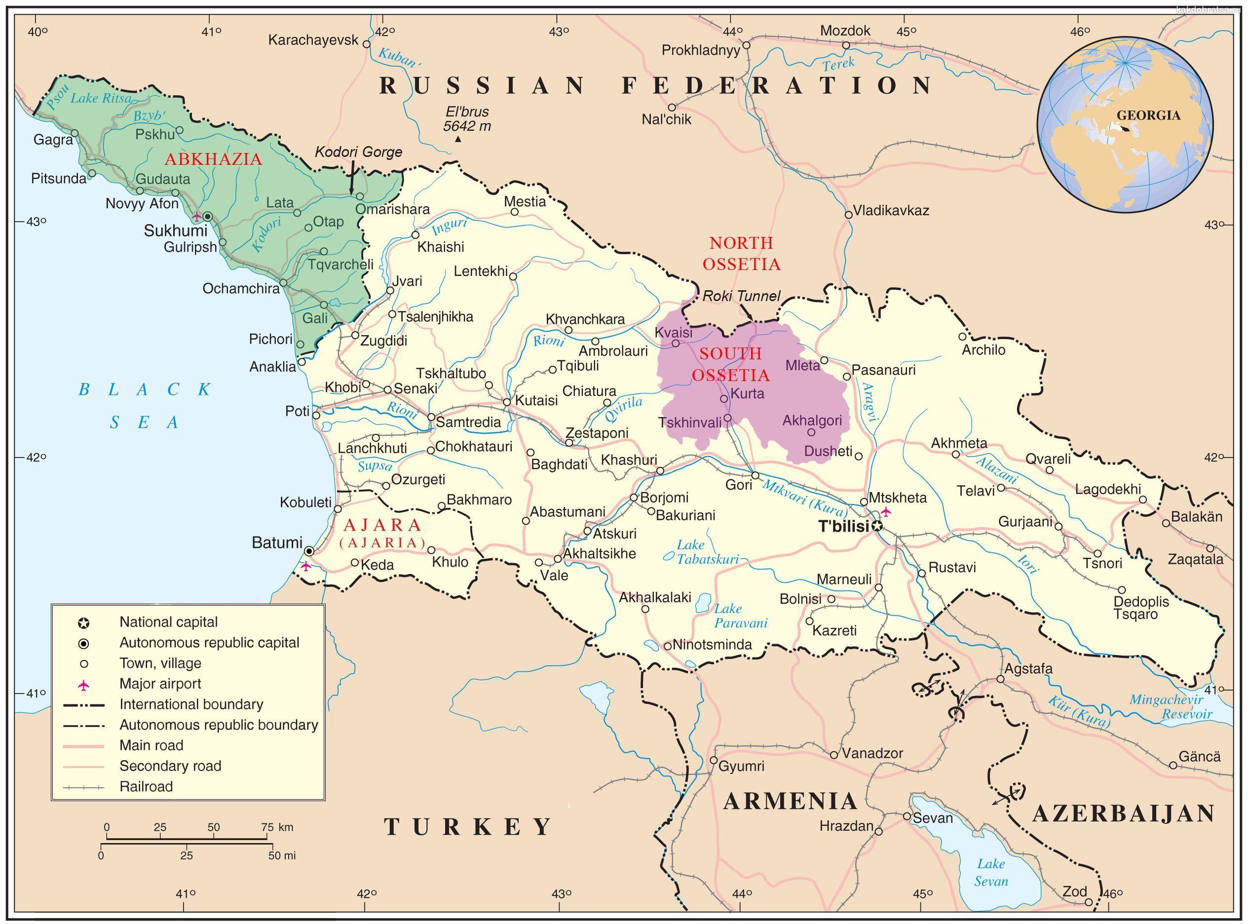 Карта автомобильных дорог Грузии