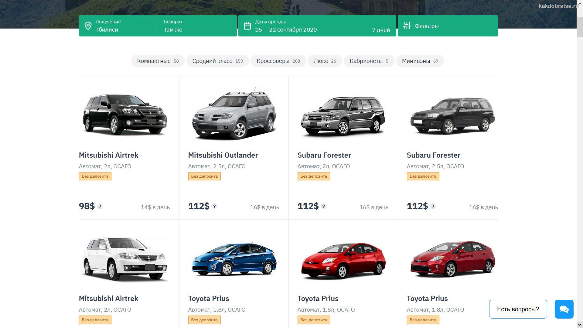 Цены на аренду авто в Грузии и Тбилиси