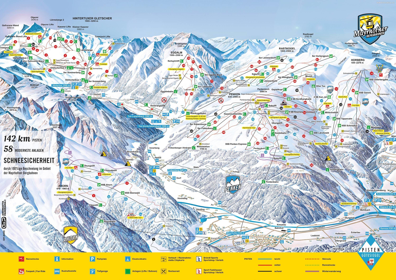 Майрхофен карта горнолыжных трасс