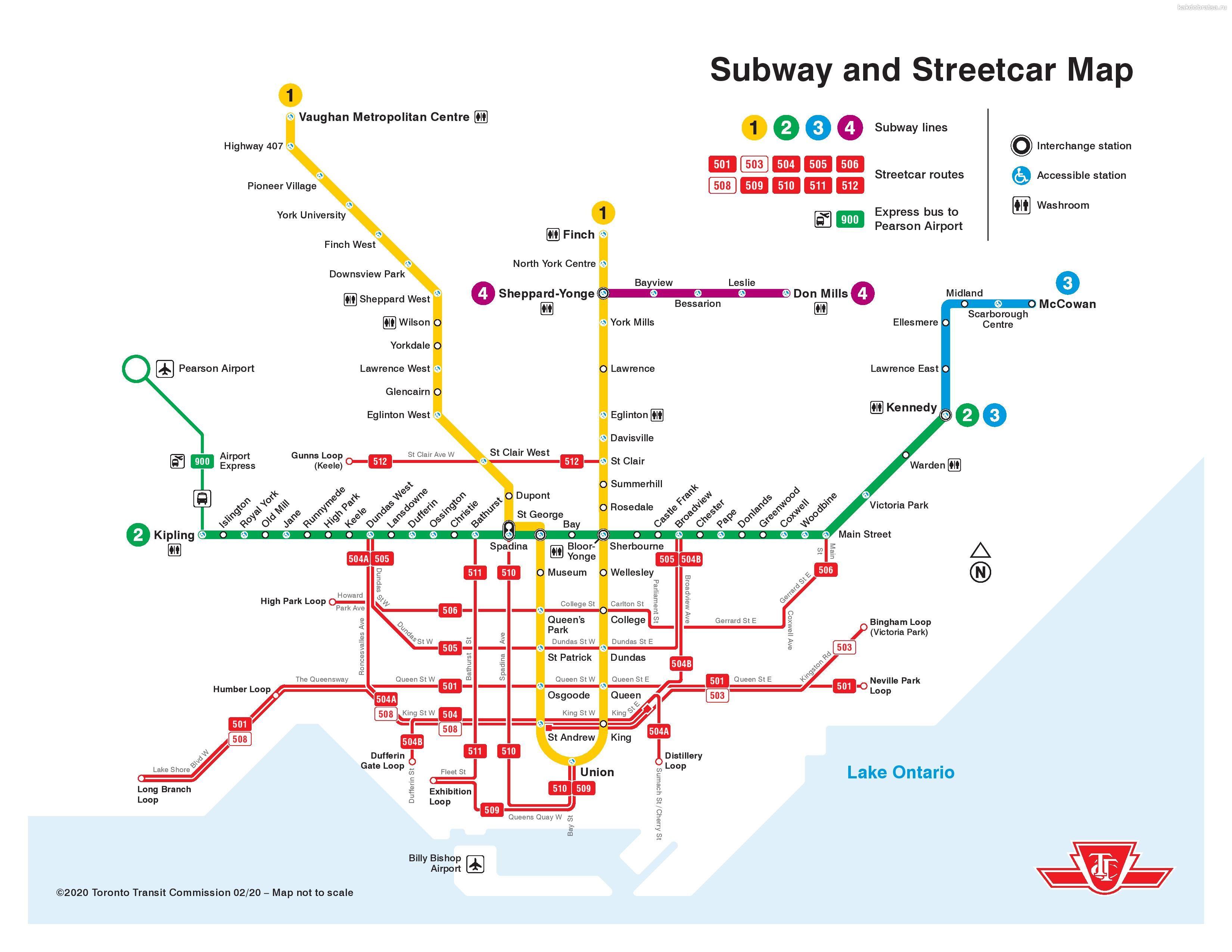 Метро Торонто карта схема