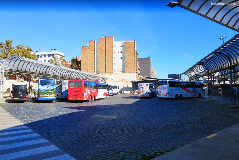Междугородний автобус на автовокзале Барселоны