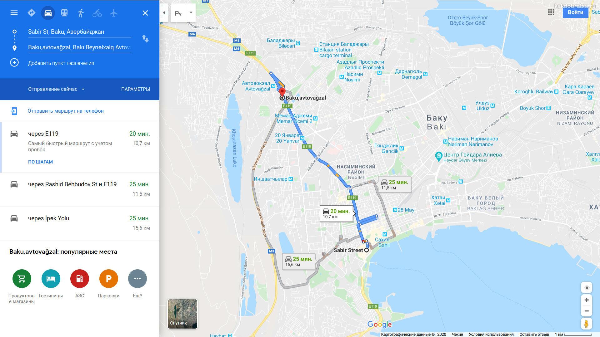Автовокзал Баку на карте и расстояние до центра
