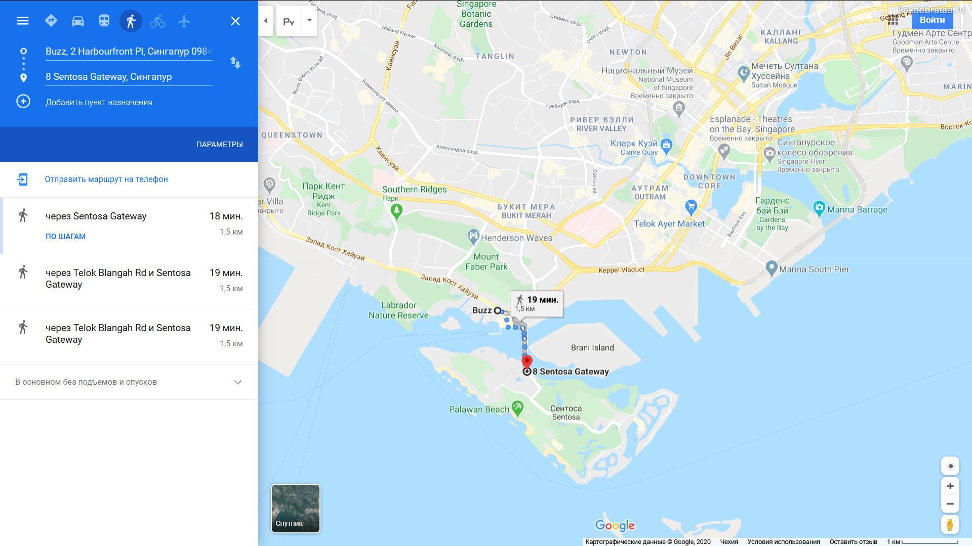 Сингапур Сентоза расстояние и время в пути