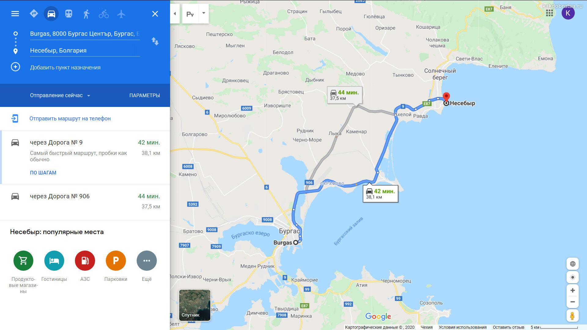 Как добраться из Бургаса в Несебр - карта