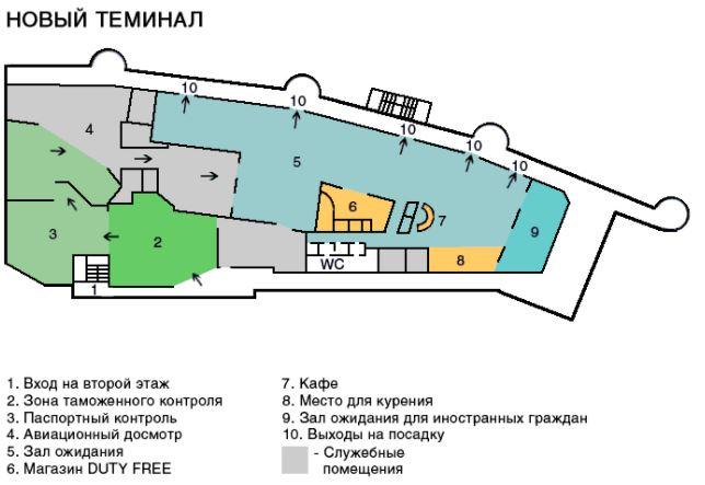 Аэропорт в Калининграде схема карта терминала