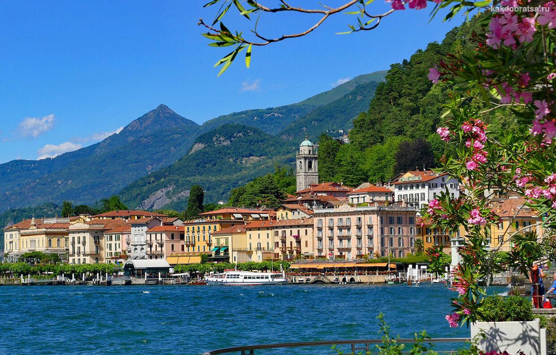 Пейзаж озера Комо в Италии