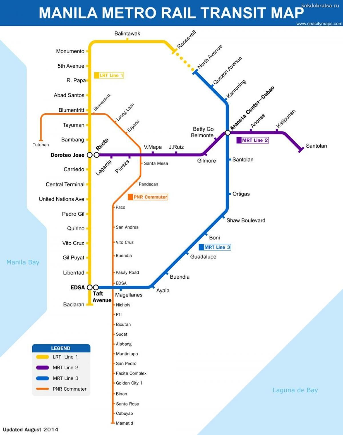 Карта схема метро города Манила