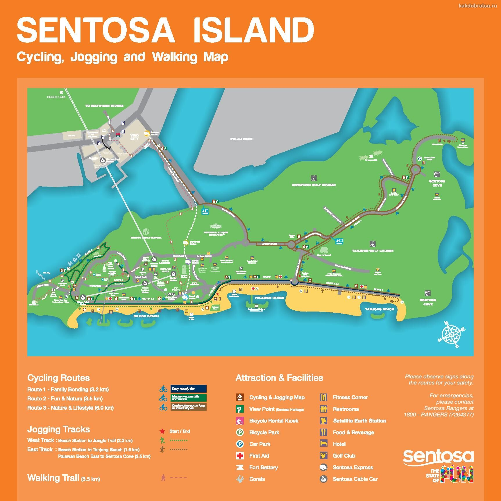 Сентоза карта пляжей и велодорожек