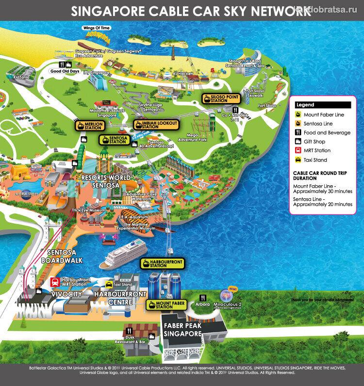 Сингапур Сентоза остров канатная дорога карта