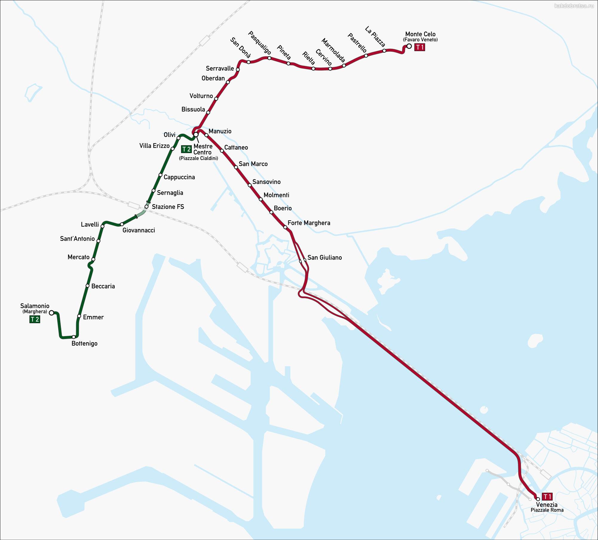 Местре Венеция карта схема трамваев