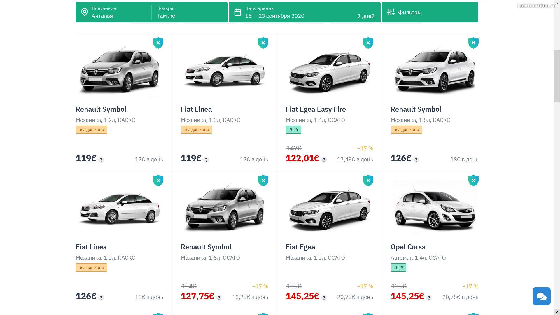 Цена аренды авто в Турции