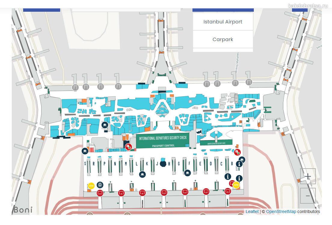Схема карта аэропорта Стамбула