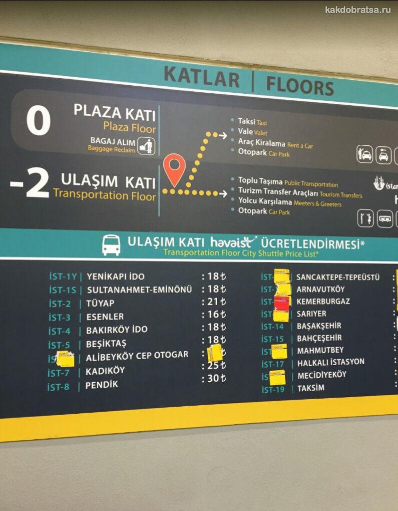 Аэропорт Стамбула место отправления автобусов