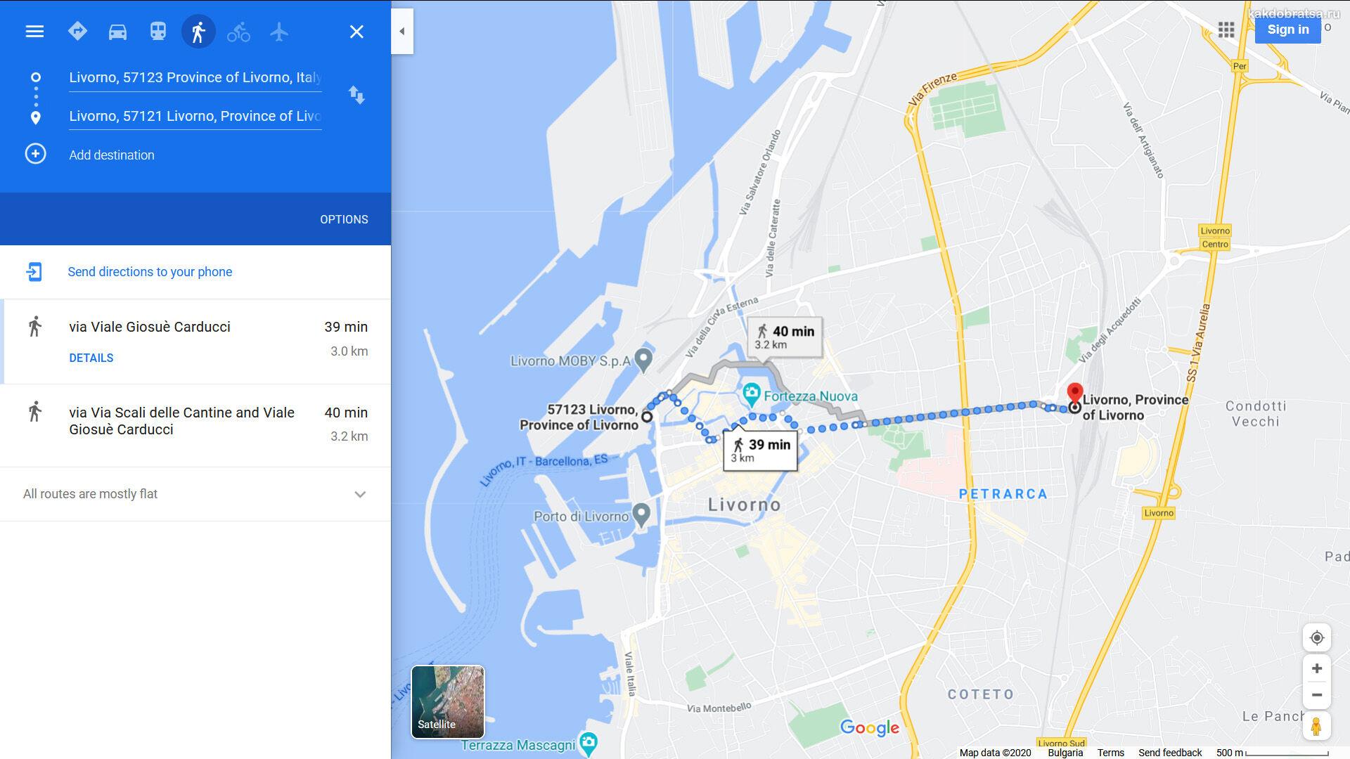Карта и расположение вокзала Ливорно