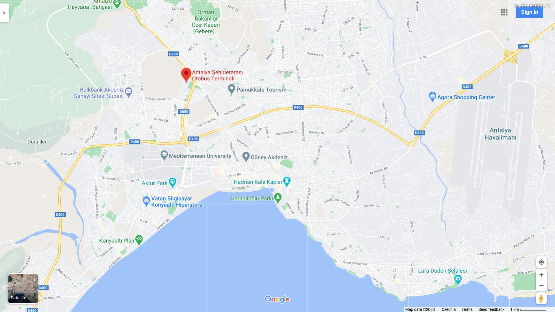 Автовокзал Анталии на карте где находится и адрес