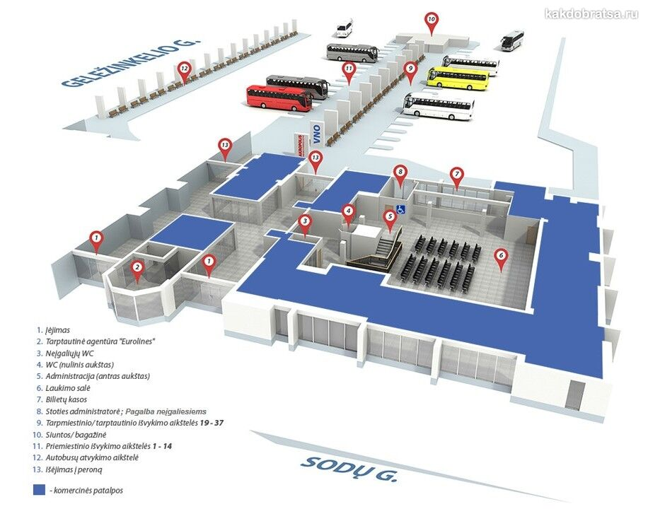 План автовокзала Вильнюса