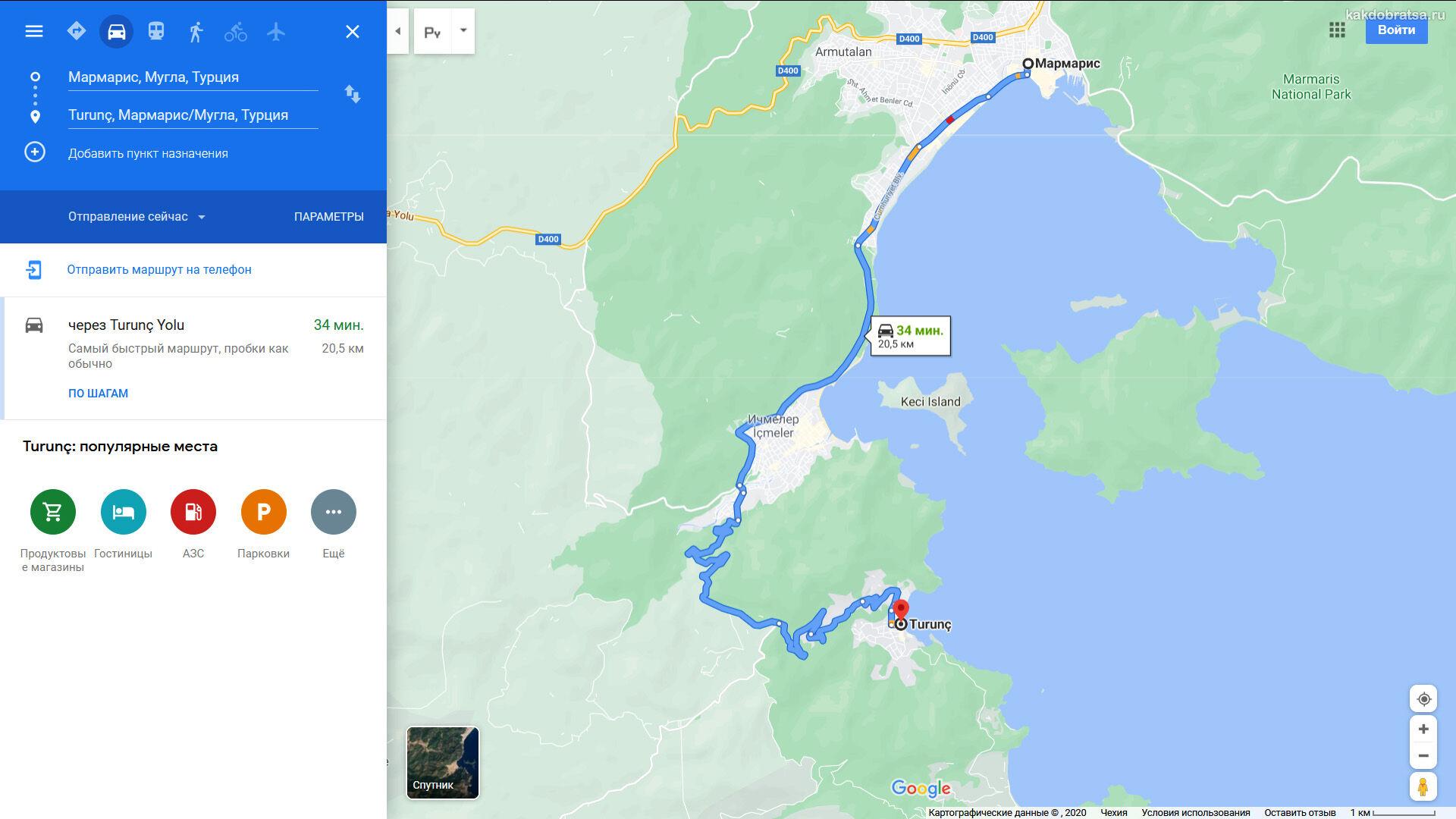 Мармарис Турунч карта и маршрут на автомобиле