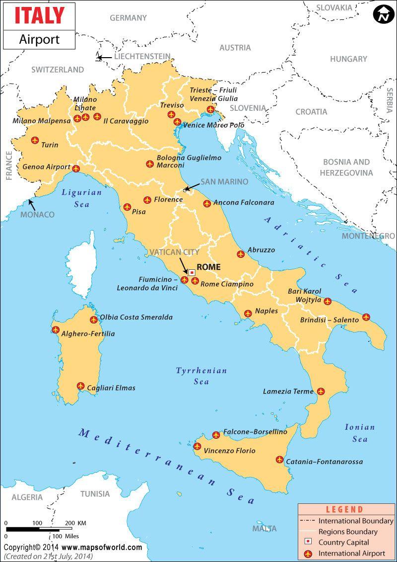 Все аэропорты Италии на карте