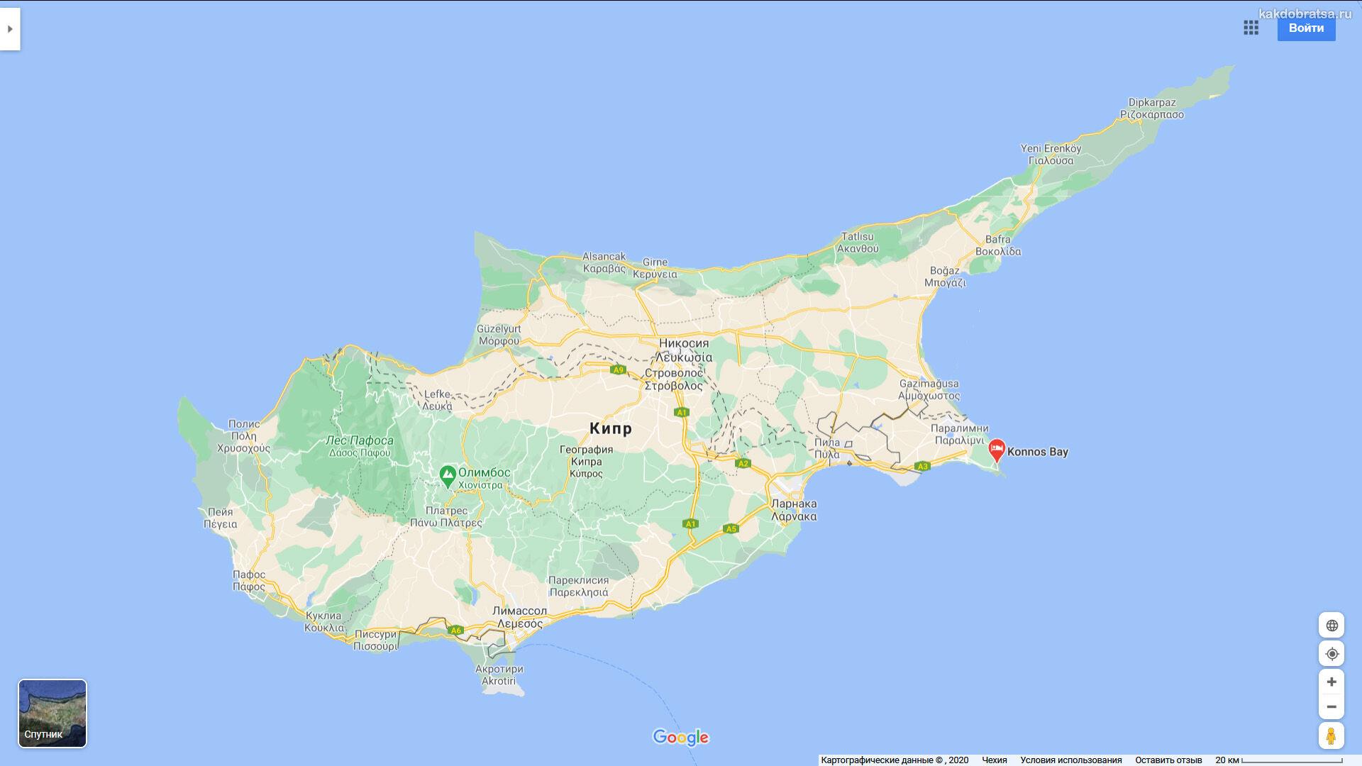 Пляж Коннос Бэй на Кипре адрес и где находится