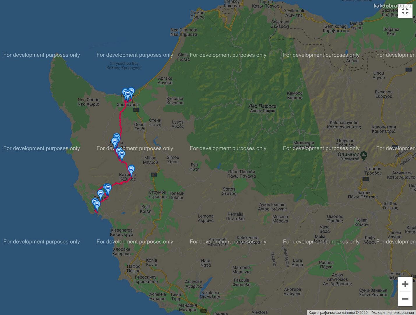 Карта автобуса 648 на Кипре