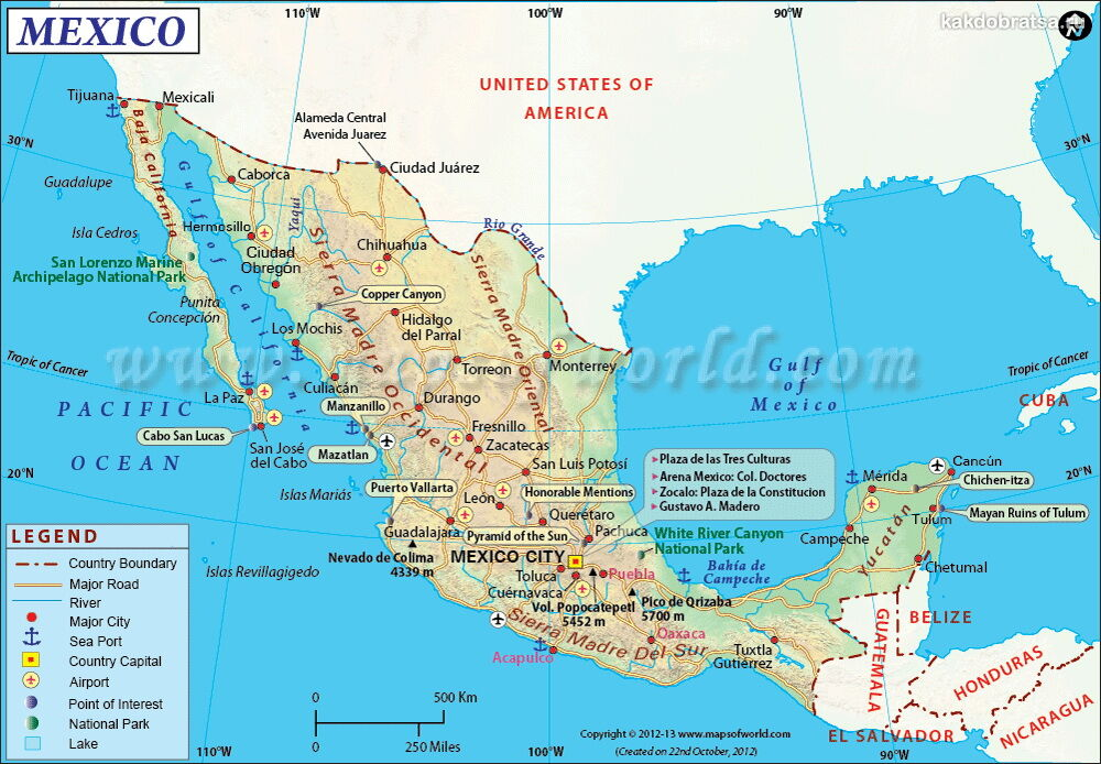 Карта аэропортов Мексики