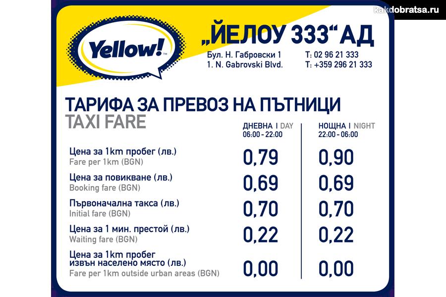 Такси в Софии цена, стоимость