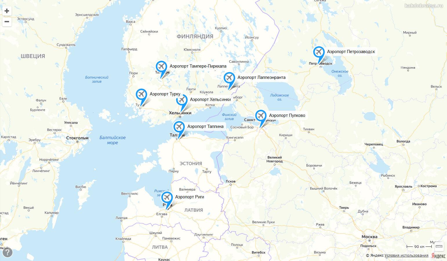 Аэропорты рядом с Санкт-Петербургом на карте