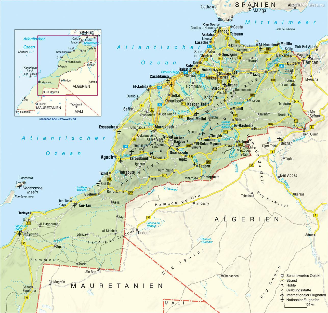 Карта Марокко с аэропортами и крупными городами
