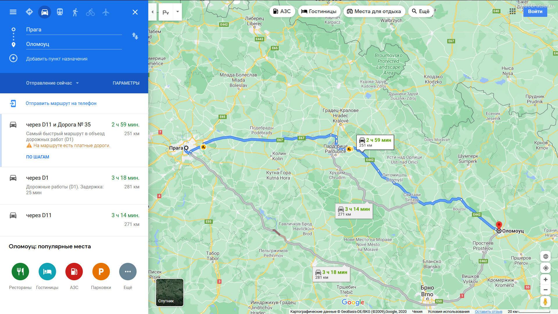 Расстояние между Прагой и Оломоуцем по карте