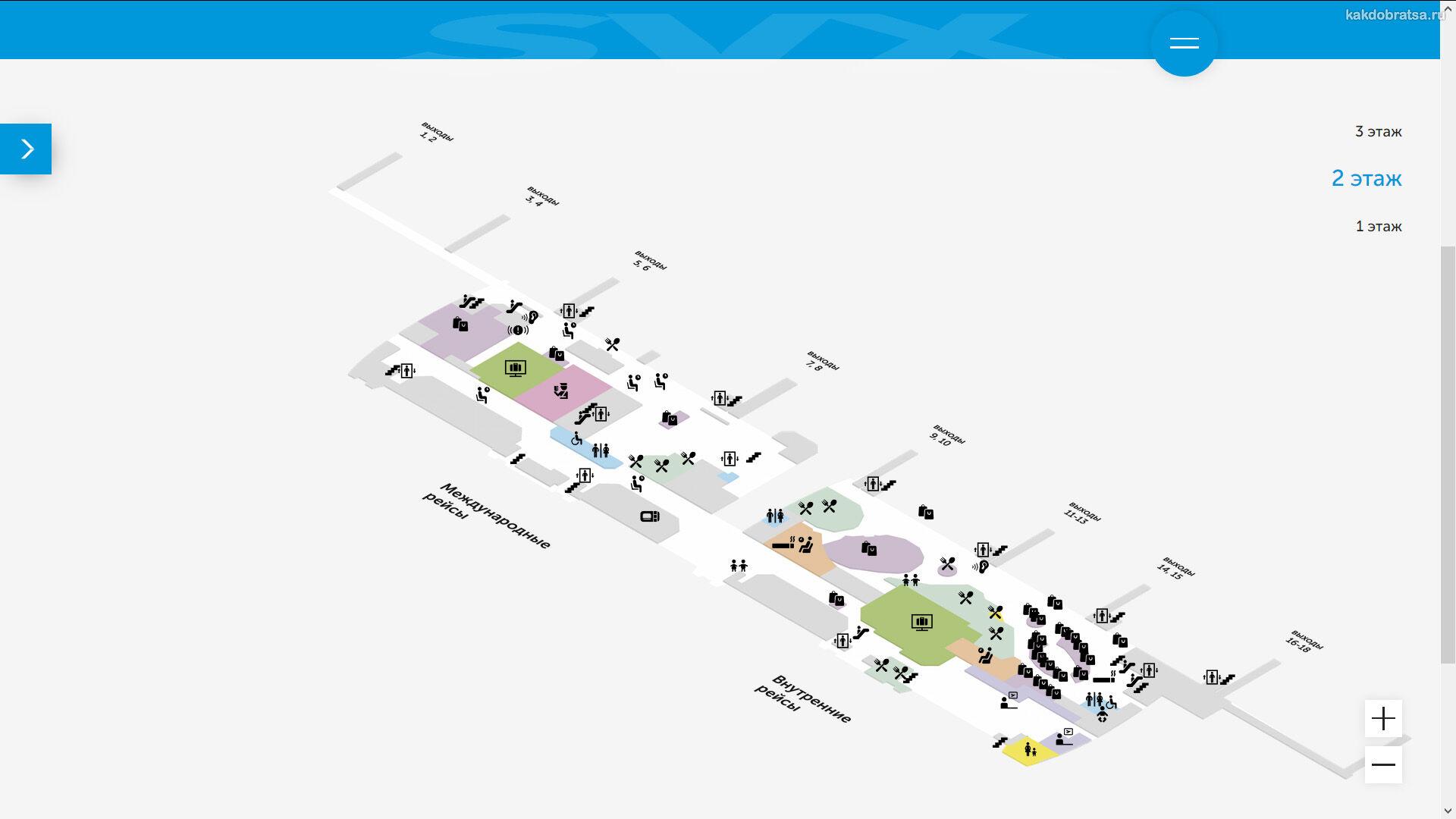 Карта терминалов аэропорта Екатеринбурга