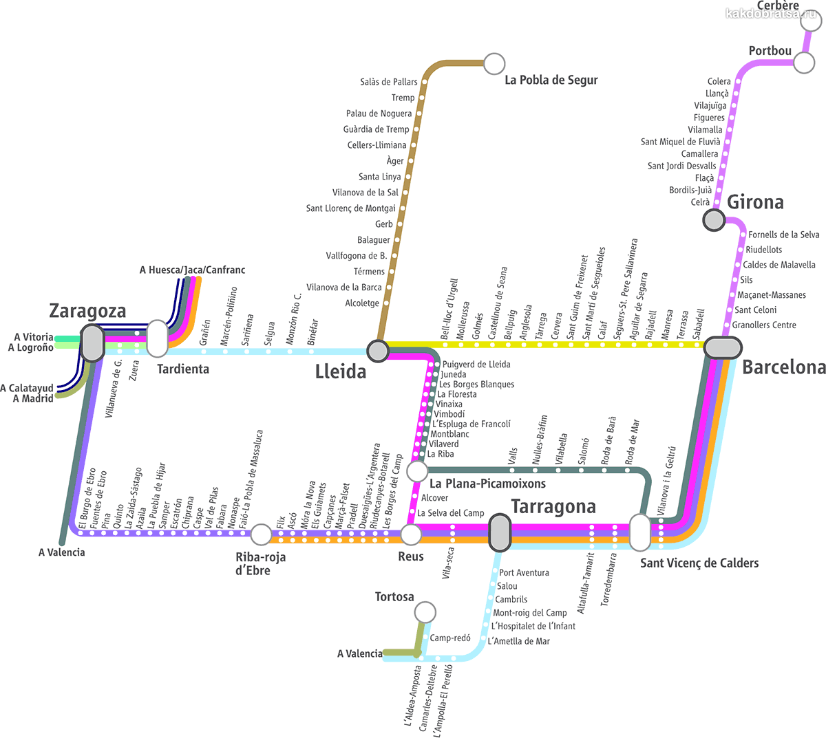 Электрички и поезда Барселоны и Каталонии