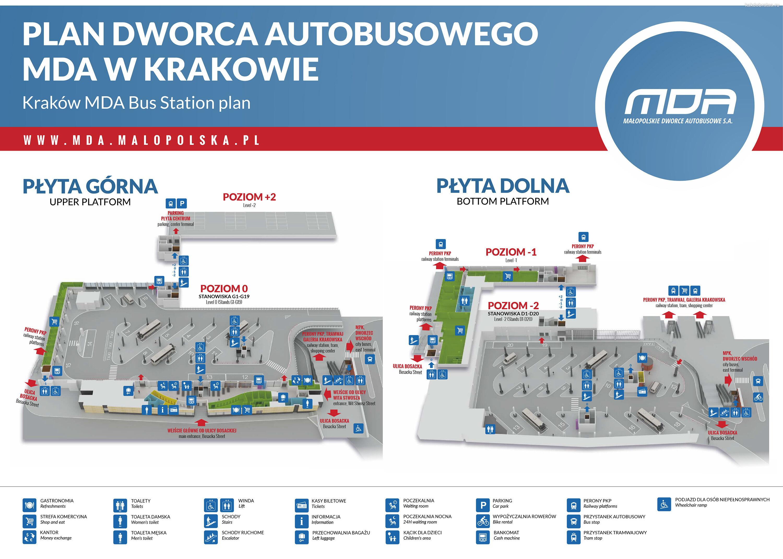 Главный автовокзал Кракова карта схема