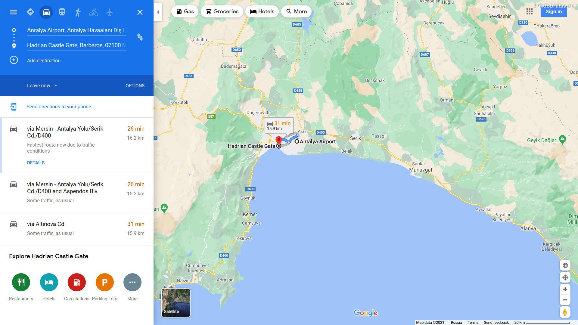 Аэропорт Анталии на карте и адрес
