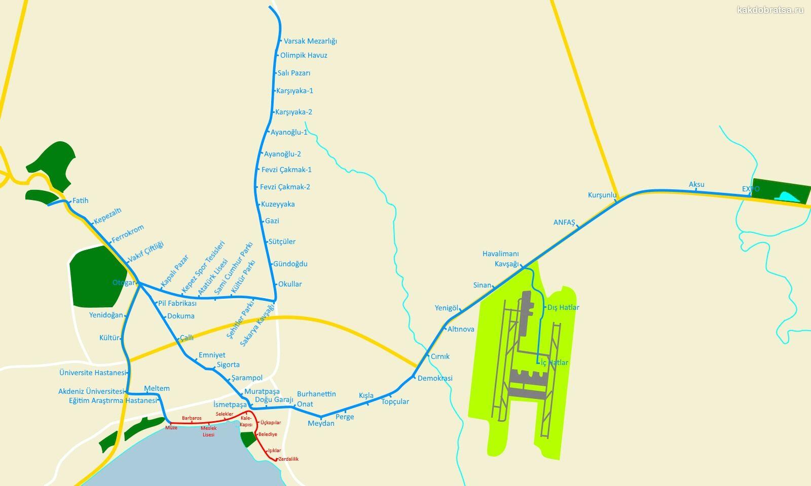 Карта схема трамваев Анталии