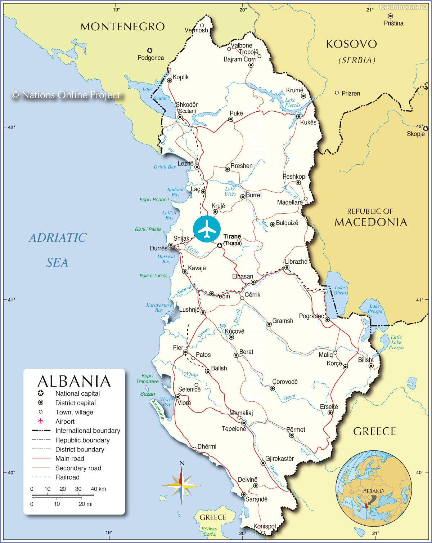 Карта Албании с городами, курортами и аэропортом