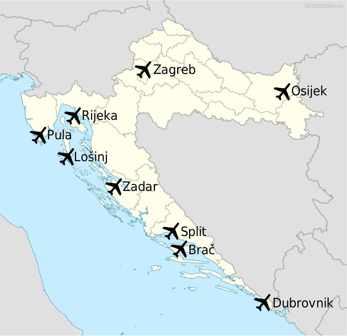 Все аэропорты Хорватии на карте на русском языке
