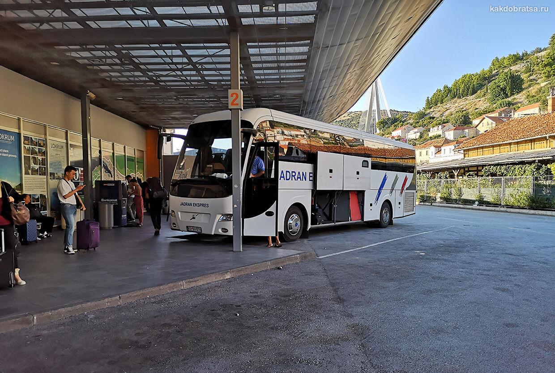 Маршрутная сеть автовокзала Дубровника