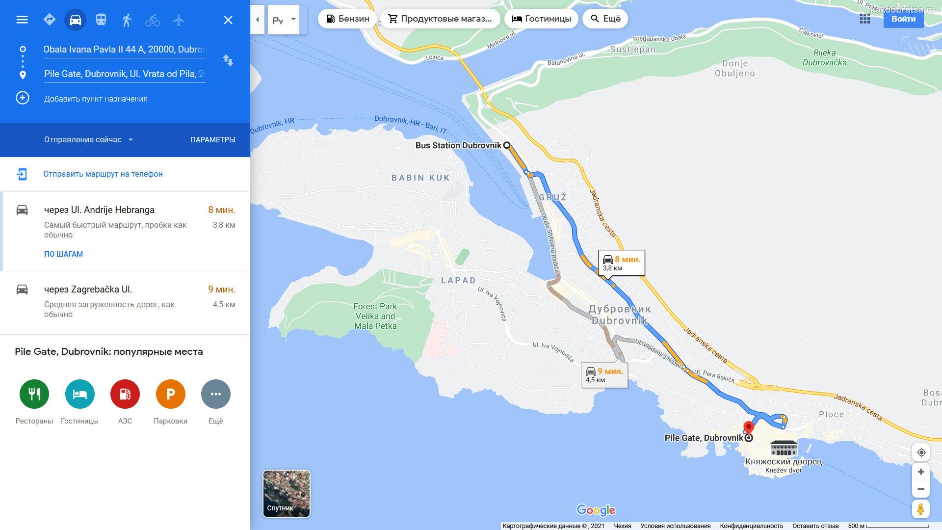 Расположение автовокзала Дубровника на карте