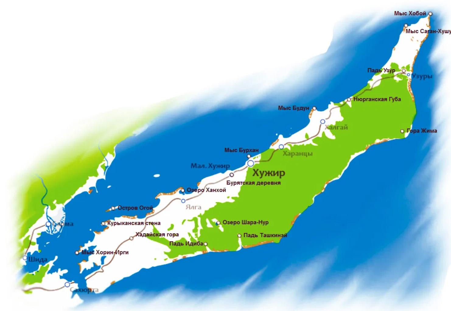 Карта городов и интересных мест острова Ольхон
