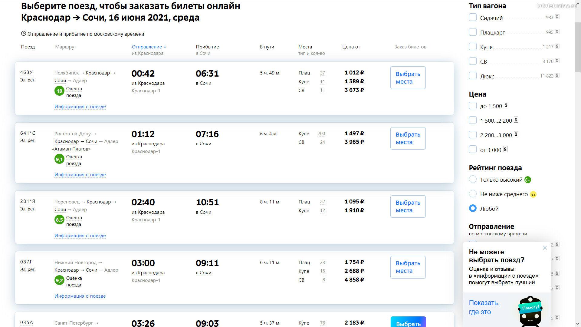 Расписание поездов из Краснодара в Сочи