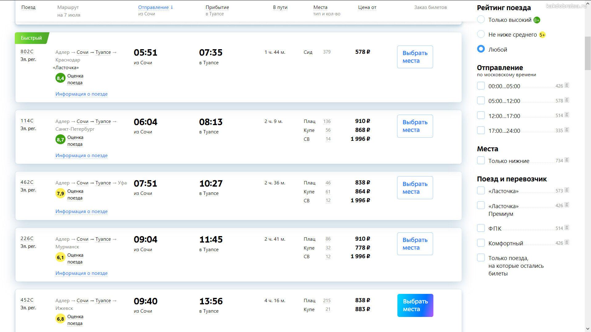 Расписание поездов из Сочи в Туапсе