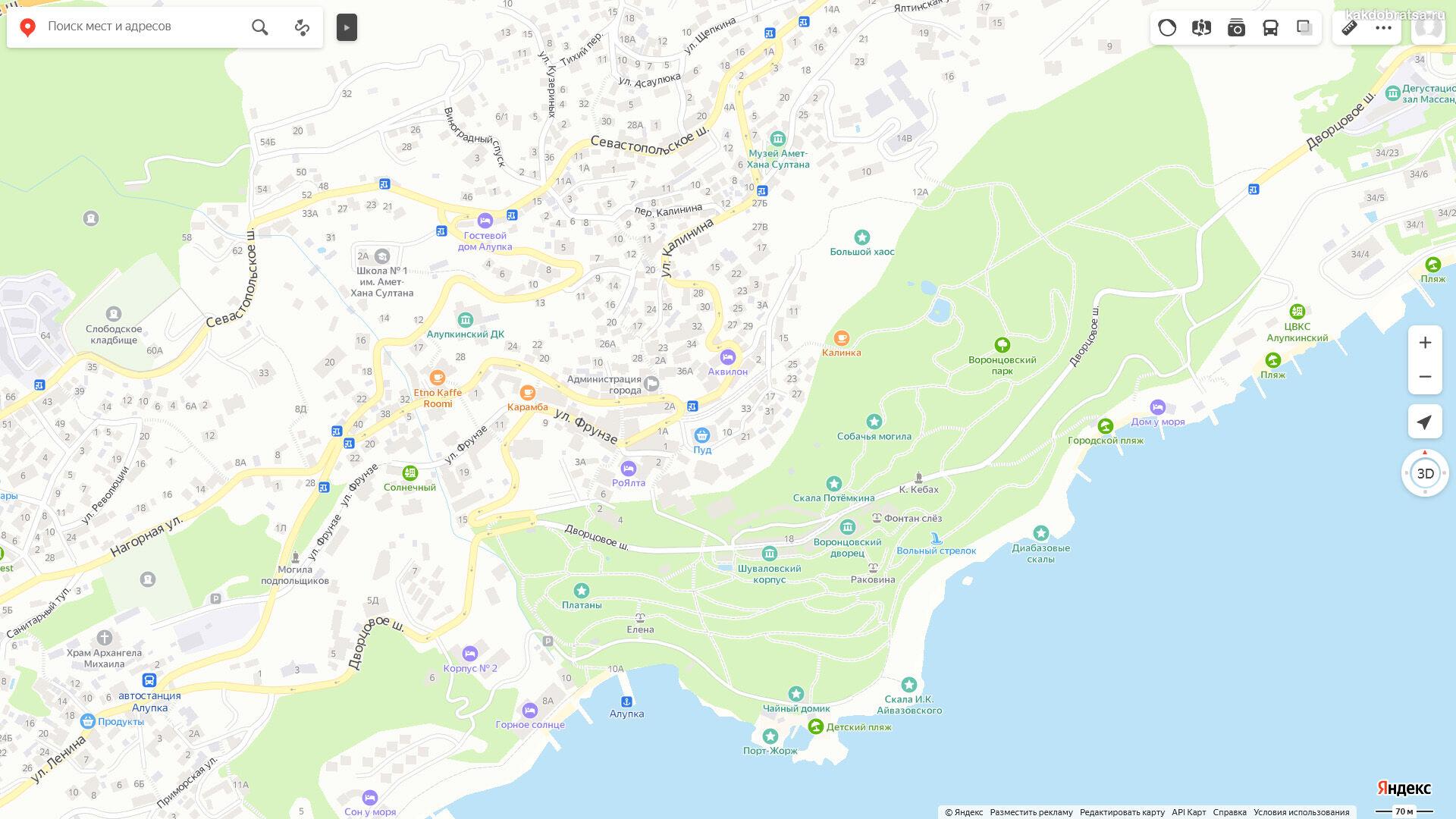 Как добраться до Воронцовского дворца в Крыму - карта