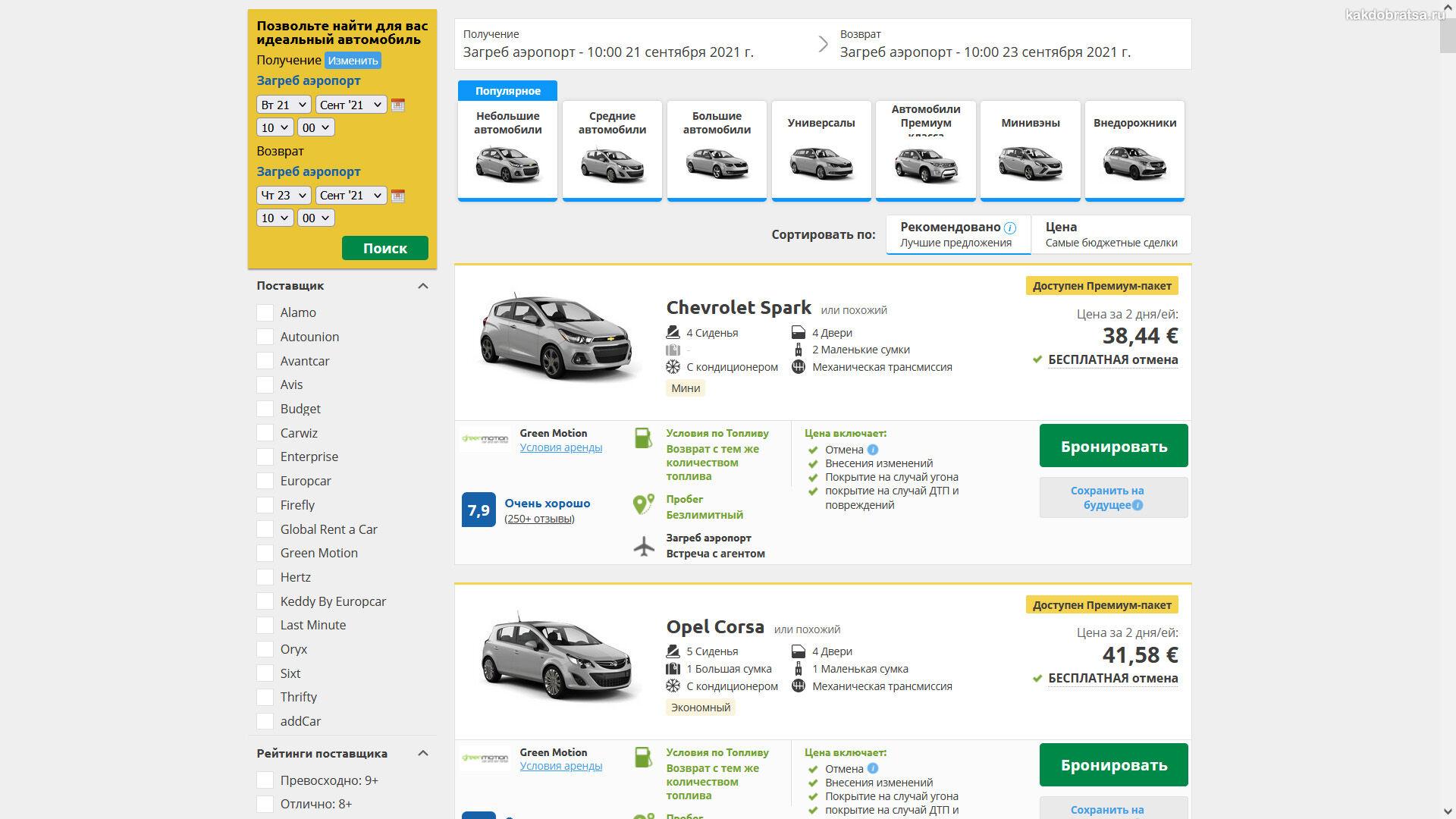 Цены и стоимость аренды авто в Хорватии
