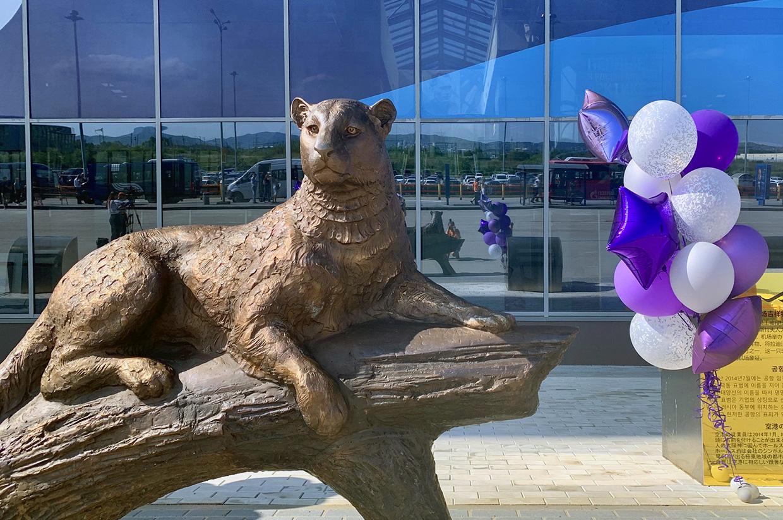 Скульптура во Владивостоке дальневосточный леопард