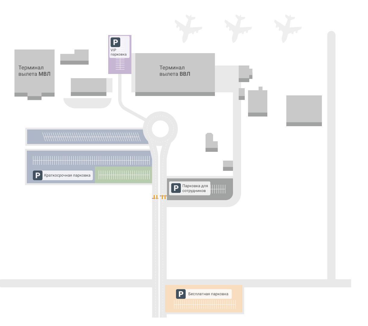 Карта-схема терминалов аэропорта Владикавказ
