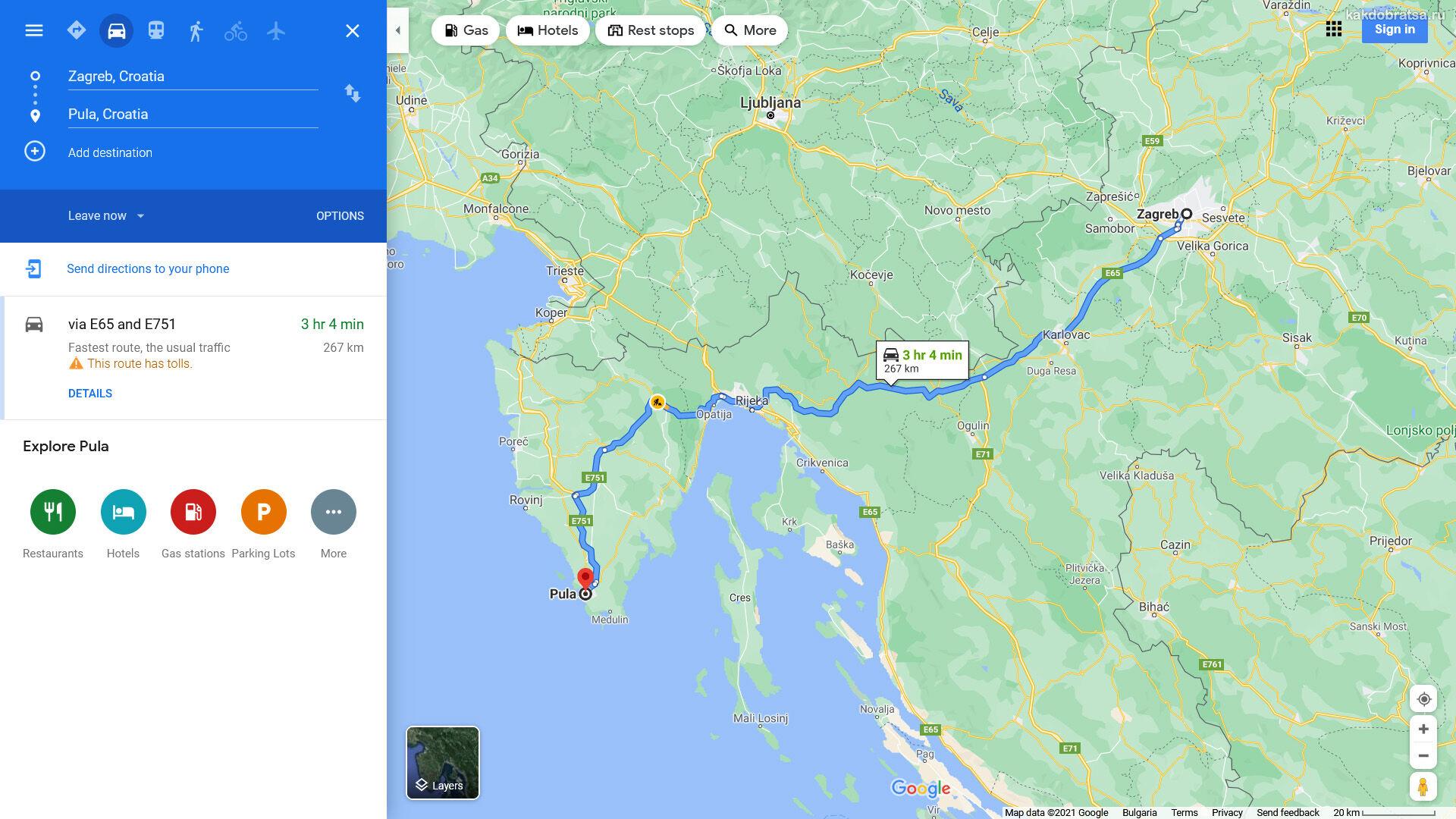 Расстояние между Загребом и Пулой по карте