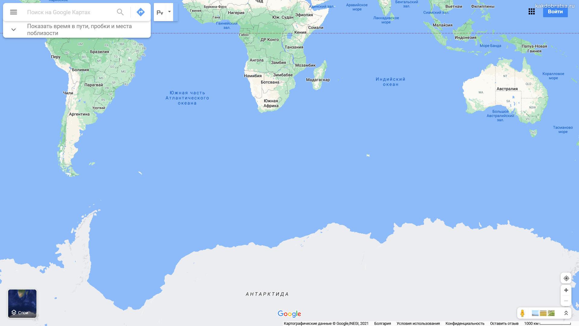 Антарктида на карте мира