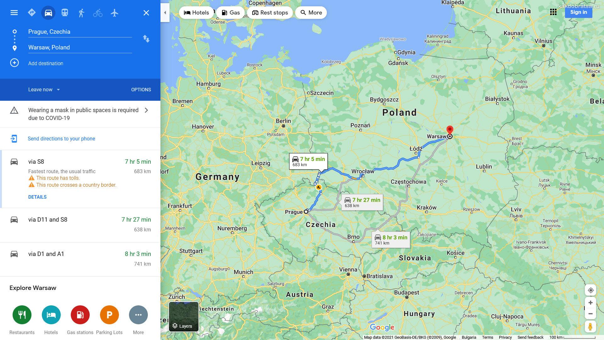 Расстояние между Варшавой и Прагой путь по карте